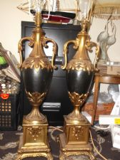 PAIR STUNNING FRENCH ? BLACK URN BODY & HIGH GILT LARGE LAMPS & CHIFFON SHADES